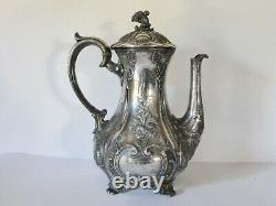 Antique Georgian Teapot, Embossed Pressed Metal Silver Plated 9 Cup Teapot