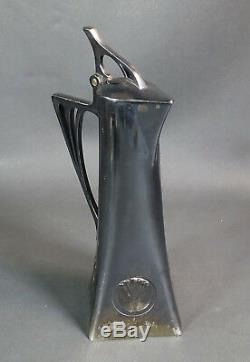 Antique German Art Nouveau WMF Albin Muller Silverplate Pitcher Claret Jug Ewer