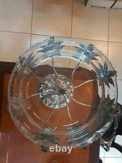 Antique German Silver plated metal and glass Art nouveau WMF centerpiece