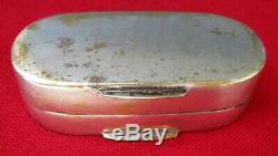 Antique Gold Gilded Silver Plated Brass Pocket Snuff Box Original Snuff Spoon