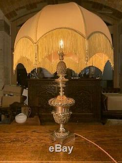 Antique Huge Silver Plate Table Lamp, Edwardian Lighting Rewired