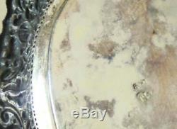 Antique Italian 800 Silver Dish, Victorian Hand Hammered Ornate Silver Tray