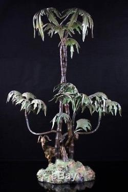 Antique Large Austrian Cold Painted Goat Palm Tree Metal Centrepiece 55 cm