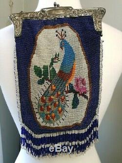 Antique Long Beaded Purse With Silver Plated Chain And Closure Peacock and Stag