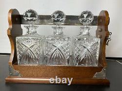 Antique Mahogany & Silver Plated Tantalus with Three Crystal Decanters Lock Key