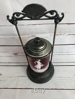 Antique Mary Gregory Cranberry Glass Pickle Caster With Silver Plate Holder