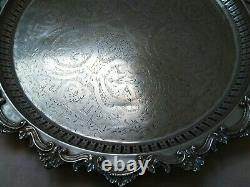 Antique Moroccan Arabic Handmade Serving Brass Tray, Silver Blate 1890-1920
