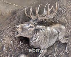 Antique O. Pflug Silver Plated Elk Relief Wall Art 11.5 x 14.5 HB Germany