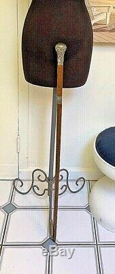 Antique Oak SECRET Walking stickSilver Plate TophallmarksBDHShield & Crown