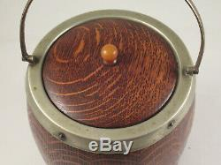 Antique Oak Wood Biscuit Barrel Jar, Porcelain Liner, Epns Silver Plate, England
