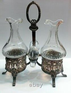 Antique Oil and Vinegar Set/Dispensers silver plated metal, original glasses