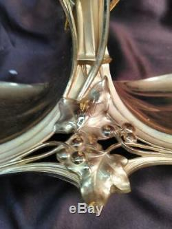 Antique Old Art Nouveau Woman Silver Plated Gold Figural Cut Glass Epergne Vase