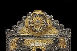 Antique Original Amazing Silver Gold Plated Amazing Belt Buckle