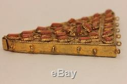 Antique Original Coral Decorated Silver Gold Plated Quran Container