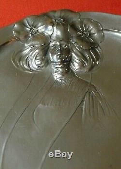 Antique Orivit Jugendstil Art Nouveau large tray withstylized woman