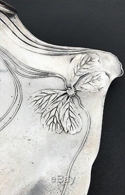 Antique Orivit Jugenstil Art Nouveau Silver plate Tray With Floral Motif. 2346 E
