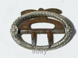 Antique Pair 19thC PRETTY Silver Plated Steel Oval Ornate Breeches Buckles #B17