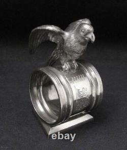 Antique Reed & Barton Figural Parrot Napkin Ring #1136 American Silver Plate