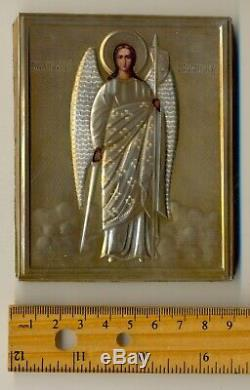 Antique Russian Icon Sterling Silver Gold Plated Original St. Michael (5000ba)