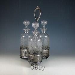 Antique Silver Plate Decanter Stand Tantalus Liquor Caddy 19th Century