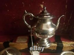 Antique Silver Plate In Original Wooden Box Doll's Toy Miniature Tea Set Teaset