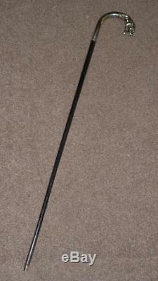 Antique Silver Plate Lion Head Crook Top Walking Stick / Dress Cane