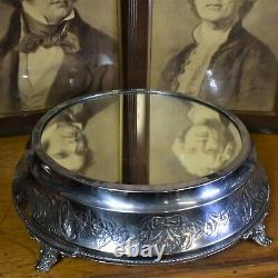 Antique Silver Plate Mirrored Cake Stand Table Centrepiece Wedding Display