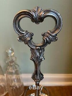 Antique Silver Plated 3 Wine Liquor Bottle Decanter Set Fleur-De-Lis Glass