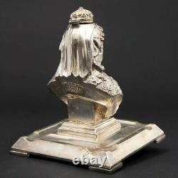 Antique Silver-Plated Figural Inkwell for Queen Victoria's Diamond Jubilee 1897