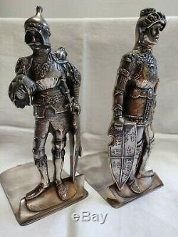 Antique Silver Plated Medieval Knight Bookends