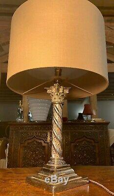 Antique Silver/chrome Corinthian Barley Twist Column Table Lamp Stepped Base