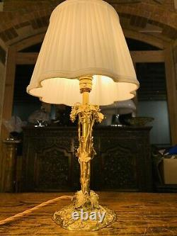 Antique Swiss Black Forest Style Gold/Silver Plated Table Lamp With Hallmarks