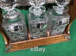 Antique Tantalus Wood & Silver Plate, Decanters With Labels, Betjemanns Dublin