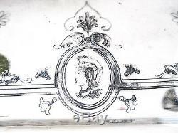 Antique Tray Silver Plate Aesthetic Medallion Portrait Face Greek Revival RARE