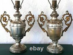 Antique Trophy Lamps in Silver Plate A Pair