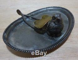 Antique Victorian Bird Wishbone Cigar Ashtray Quad Silver Plate Forbes USA Tray