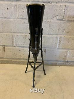 Antique Victorian Black Amethyst Glass Bud Vase with Silver Plated Holder with Bee