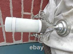Antique Victorian Cherub Silver Plate Holder Painted Violets Art Glass Ring Vase