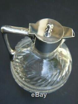 Antique Victorian Crystal Silver Claret Jug Dixon & Sons Sheffield Plate1900's