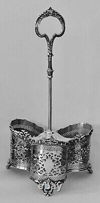 Antique Victorian English Silverplate Silver Plate 3 Wine Bottle Handled Caddy