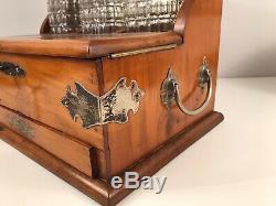 Antique Victorian Inlaid Light Oak & Silver Plate Triple Decanter Tantalus Set