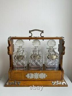 Antique Victorian Oak & Silver Plated Tantalus With 3 Decanters, Labels And Key