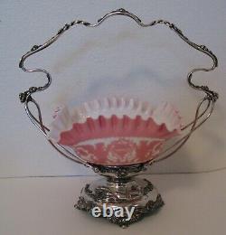 Antique Victorian Pink Brides Basket Griffins Nude Woman Meriden Silverplate