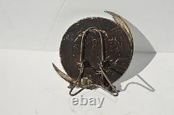 Antique Victorian Silver Plated Figural Moon & Cherub Round Mirror Marked Roger