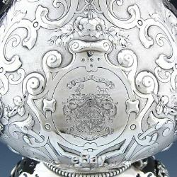 Antique Victorian Silver-plate 17.5 120oz Tipper Kettle, Armorial Heraldry