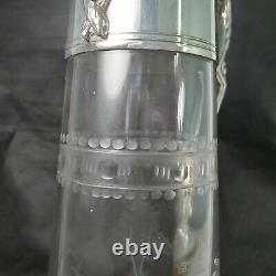Antique Victorian Woman Golfer Etched Glass Silver Plated Wine Decanter Claret