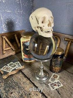 Antique Vintage Crystal Ball Fortune Teller Silver Plated Putto Stand Large 40cm