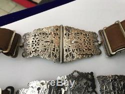 Antique Vintage Nurses Silver Plated EPNS Leather Belt & Buckle Floral