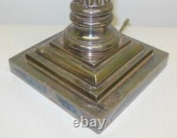 Antique Vintage Silver Plate Corinthian Column Lamp Marked G. S
