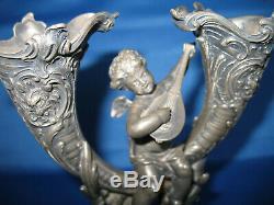 Antique WMF Art Nouveau Elegant Silver Plate Cherub epergne unpolished